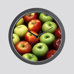 apples red green granny smith Wall Clock
