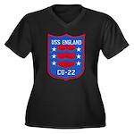 USS ENGLAND Women's Plus Size V-Neck Dark T-Shirt