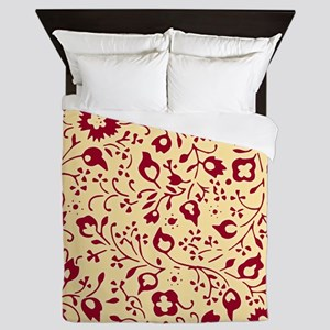 Vintage Red and Yellow Floral Pattern Queen Duvet