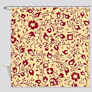 Vintage Red and Yellow Floral Patte Shower Curtain