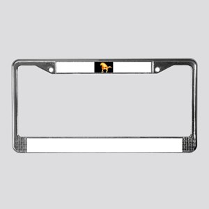 fire horse black orange License Plate Frame