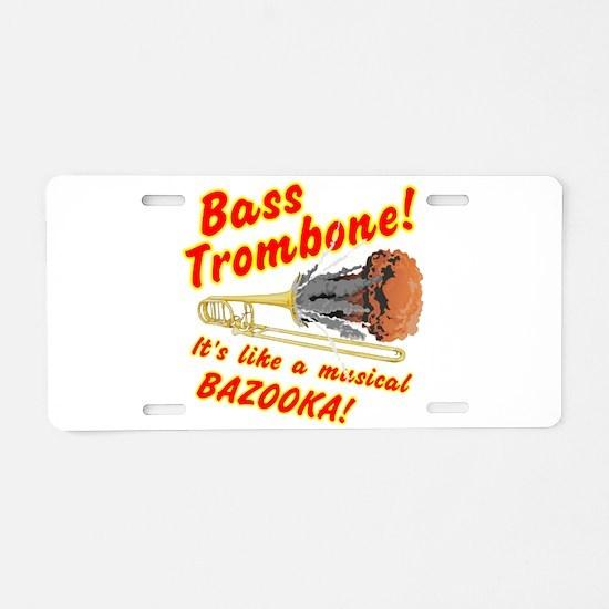 Bass Trombone Musical Aluminum License Plate