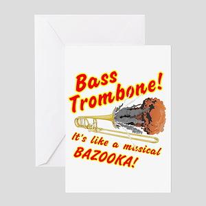 Bass Trombone Musical Bazooka Greeting Cards