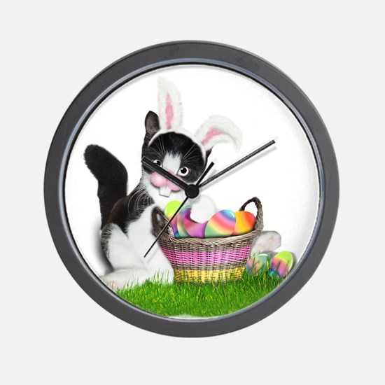 Easter Kitten with Basket of Colored Eg Wall Clock