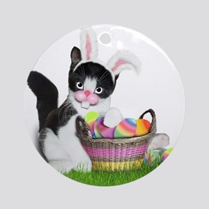 Easter Kitten with Basket of Colo Ornament (Round)
