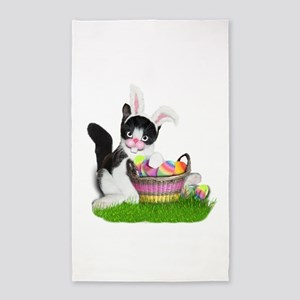 Easter Kitten with Basket of Colored Eggs Area Rug