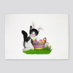 Easter Kitten with Basket of Colore 5'x7'Area Rug