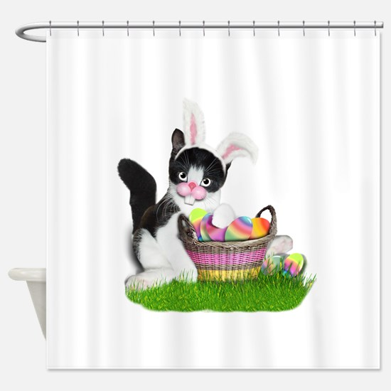 Easter Kitten with Basket of Colore Shower Curtain