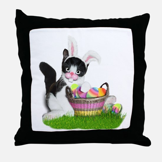 Easter Kitten with Basket of Colored Throw Pillow