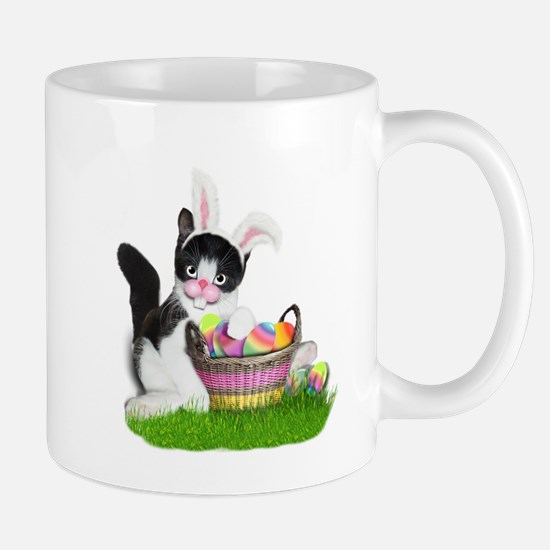 Easter Kitten with Basket of Colored Eggs Mugs