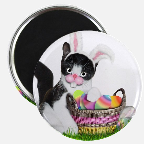 Easter Kitten with Basket of Colored Eggs Magnets