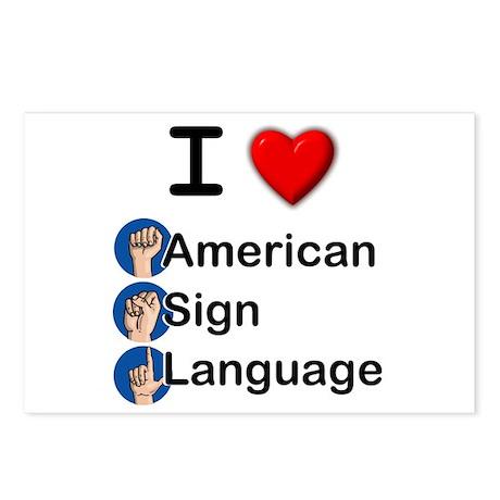 I Heart ASL Postcards (Package of 8)
