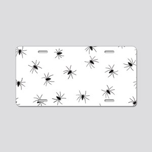 creepy spiders black white Aluminum License Plate