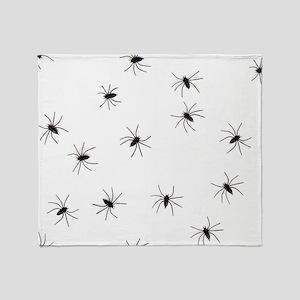 creepy spiders black white Throw Blanket