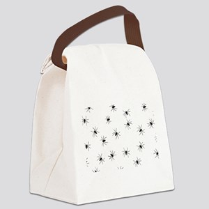 creepy spiders black white Canvas Lunch Bag
