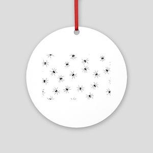 creepy spiders black white Ornament (Round)