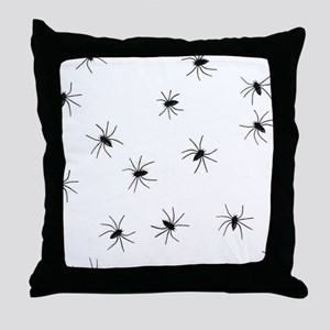 creepy spiders black white Throw Pillow