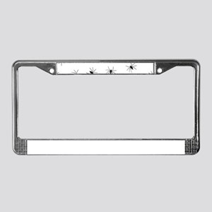creepy spiders black white License Plate Frame