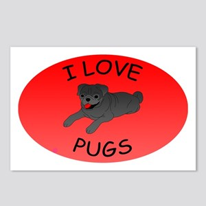 I Love Pugs Postcards (Package of 8)