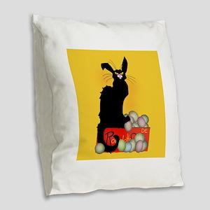 Happy Easter - Le Chat Noir Burlap Throw Pillow