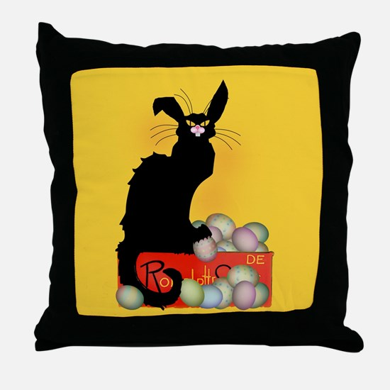 Happy Easter - Le Chat Noir Throw Pillow
