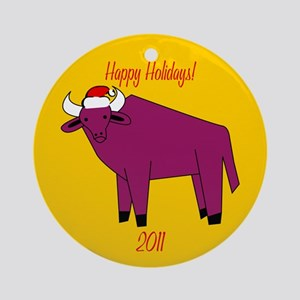Yak Happy Holidays! Round Ornament