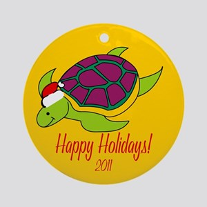 Turtle Happy Holidays! Round Ornament