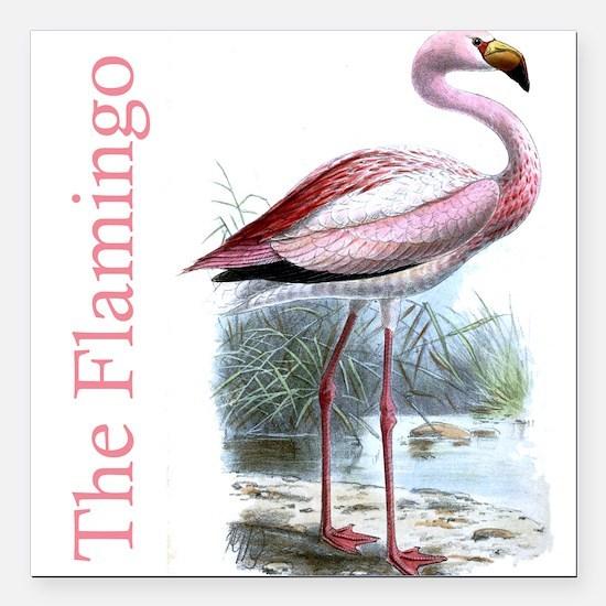 "The Flamingo Square Car Magnet 3"" x 3"""