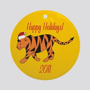 Tiger Happy Holidays! Round Ornament