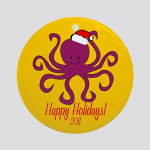 Octopus Happy Holidays! Round Ornament
