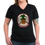USS EPPERSON Women's V-Neck Dark T-Shirt