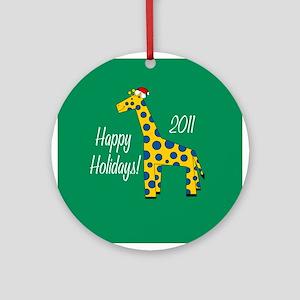 Giraffe Happy Holidays! Round Ornament
