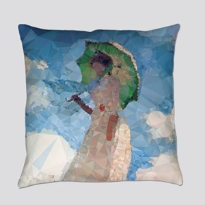 Madame Monet Parasol Low Poly Everyday Pillow