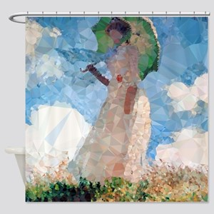 Madame Monet Parasol Low Poly Shower Curtain