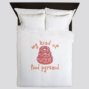 MY KIND OF FOOD PYRAMID Queen Duvet