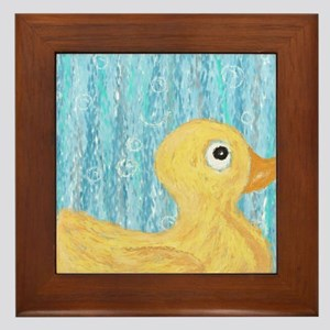 Big Rubber Duck on Blue Framed Tile