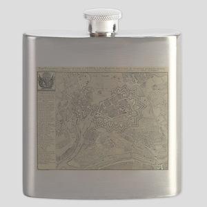 Vintage Map of Geneva Switzerland (1825) Flask