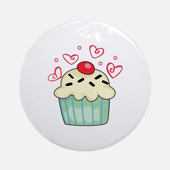 CUPCAKE AND HEARTS Ornament (Round)