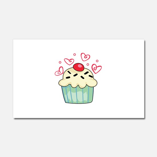 CUPCAKE AND HEARTS Car Magnet 20 x 12