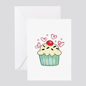 CUPCAKE AND HEARTS Greeting Cards