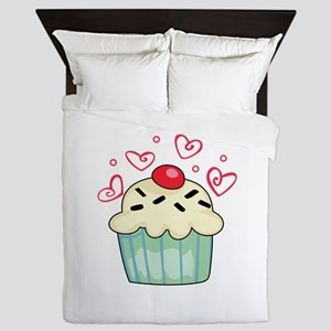 CUPCAKE AND HEARTS Queen Duvet