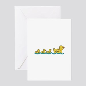 MOTHER AND BABY DUCKS Greeting Cards