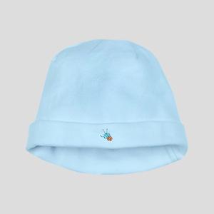 KNITTING NEEDLES AND YARN baby hat