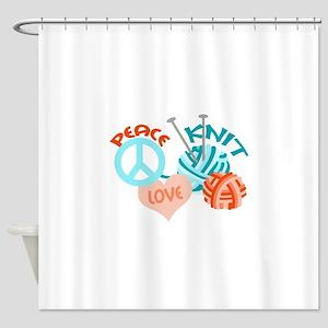 PEACE LOVE KNIT Shower Curtain