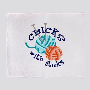 CHICKS WITH STICKS Throw Blanket