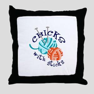 CHICKS WITH STICKS Throw Pillow