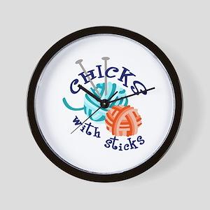 CHICKS WITH STICKS Wall Clock
