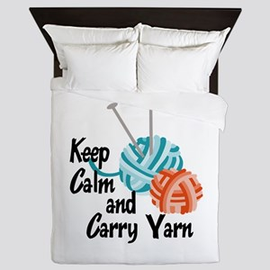 KEEP CALM AND CARRY YARN Queen Duvet