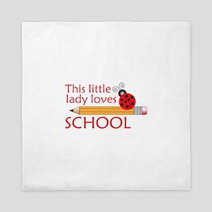 THIS LITTLE LADY LOVES SCHOOL Queen Duvet