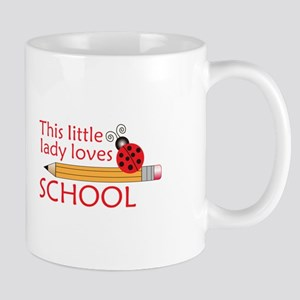 THIS LITTLE LADY LOVES SCHOOL Mugs